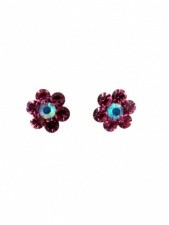 Pink Tone Crystal Flower Stud Earrings