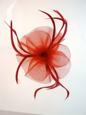 Red Crin  & Feather Fascinator