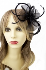 Black Crin and Feather Flower Fascinator