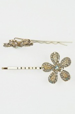 Pair of Gold & Crystal Flower Sparkling Hair Grips
