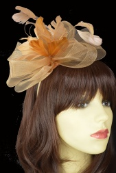 Gold/Beige Crinoline Bow & Feather Flower Fascinator