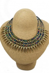 Gold & Multicolour Bead Fashion Necklace