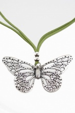 Green Suede Necklace with Silver Colour Butterfly Pendant