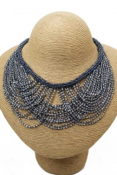 Grey & Silver Sequin Bead Statement Collar Necklace