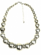 Burnished Silver and Crystal Bead Fashion Necklace