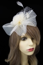 Ivory Crinoline Flower Hairband Fascinator with Netting