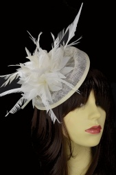 Ivory Hat & Feather Flower Hairband & Clip Fascinator