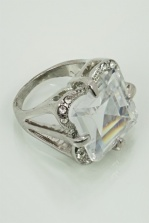 Silver Colour Square Sparkling Crystal Cocktail Ring