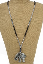 Black & Silver Long Bead Necklace with Elephant Pendant