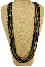 Black & Gold Multi Strand Elegant Necklace