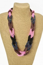 Multicolour Seed Bead Metal Free Necklace