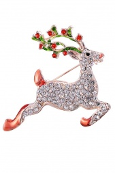 Multicolour with Crystals Reindeer Brooch