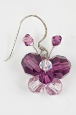 Purple Sparkling Butterfly Earrings with 925 Silver