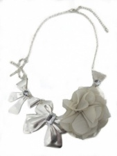 Silver Bow Fashion Necklace with Chiffon Flower