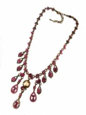 Ornate Pink Sparkling Crystal  Necklace