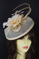 Pretty Nude Hat Fascinator with Quills & Hairband