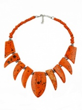 Orange Bone Ethnic Style Necklace