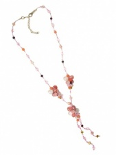 Nannapas Pink Semi Precious Stone & Crystal Necklace