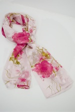 White Silk Mix Ladies Scarf with Pink Floral Design
