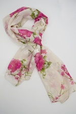 Cream & Pink Floral Design Pretty Silk Mix Scarf