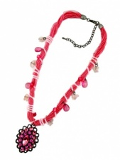 Pink Crystal and Multi Cord Fashion Necklace