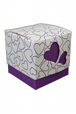Purple Heart Print Gift Box for Earrings & Pendants
