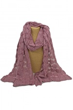 Purple Wool Knitted Lace Design Scarf with Sequins