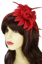 Red Flower & Feather Clip Fascinator