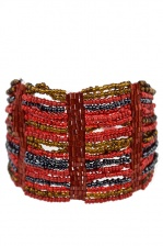 Red, Grey & Bronze Beaded Wide Fashion Bracelet