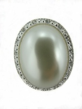 Very Large Pearl and Crystal Ring