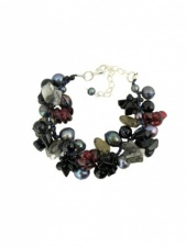 Black Semi Precious Stone and Freshwater Pearl Bracelet