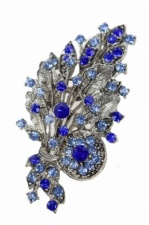 Blue Crystal Flower Bouquet Fashion Brooch