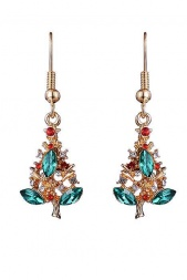 Gold Effect Christmas Tree Earrings with Coloured Crystals