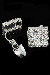 Sparkling Square Clip Earrings