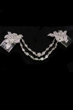 Elegant Luxury Crystal Bridal Headpiece with Two Combs