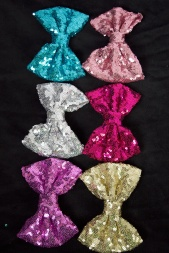 Sequin Sparkly Bow Hair Clips