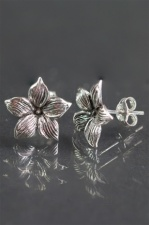 Pretty Sterling Silver Flower Stud Earrings with Gift Box