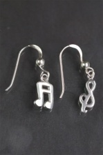 Sterling Silver Musical Note Dangly Earrings with Gift Box