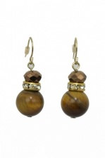 Majique Tigers Eye and Gold Effect Earrings with Crystals