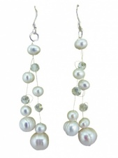 Freshwater Pearl and Crystal Illusion Earrings