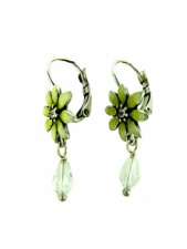 Pale Yellow Daisy and Crystal Fashion Earrings