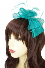 Aqua Blue/Green Sinamay Bow Hairband Fascinator