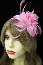 Pastel Pink Flower and Feather Hairband Fascinator