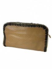 Light Brown Leather Effect Clutch Bag