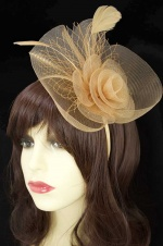 Beige/Nude Pretty Crinoline Hairband Fascinator