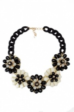 Large Black, Cream & Gold Flower Necklace