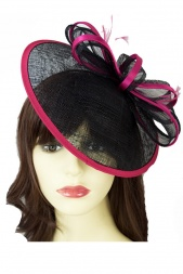 Pretty Black & Fuchsia Pink Saucer Hat with Bow