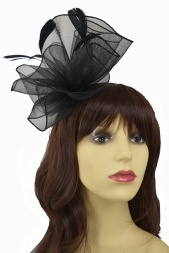 Black Gathered Crinoline Elegant Headpiece Fascinator