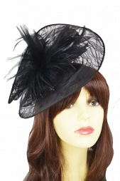 Large Black lace & Feather Hairband Fascinator