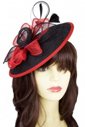 Black & Red Sinamay Saucer Hat with Hairband & Clip